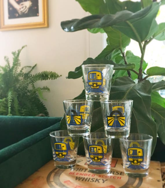 Vintage Mid-Century Modern Long Island Railroad Libby's Glassware - Set of Six RARE Whiskey / Rocks / Cocktail Glasses - 6 oz. Rocks Glasses