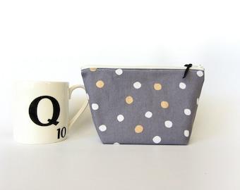 Polka dot zipper pouch, makeup bag, bridesmaid gift, cosmetic pouch, medium zipper pouch, make up pouch