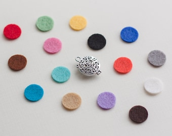 Diffuser Necklace Pads, 30 Essential Oil Pads, Diffuser Locket Pads, Wool Felt Pads, Aromatherapy Pads, Diffuser Pad Refills, 1/2 inch