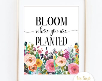 """Bloom Where You Are Planted  - Corinthians - Bible Verse - Bible Quote - PRINTABLE ART - 8x10"""" - Instant Download - Inspirational Quote"""