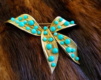 Vintage Gold & Turquoise Balls Ribbon Bow Brooch - RARE