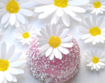 Edible White Daisies 3D Flowers Wafer Paper Boho Wedding Cake Decorations Rustic Spring Daisy Birthday Cupcake Toppers Cookie Yellow