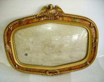 Antique Military Frame Convex Glass/Eagle/Wood and Gesso Military Picture Frame
