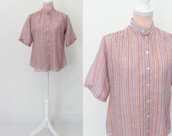 1970s Blouse / 70s Cotton Button Up Shirt / Striped Top / Medium