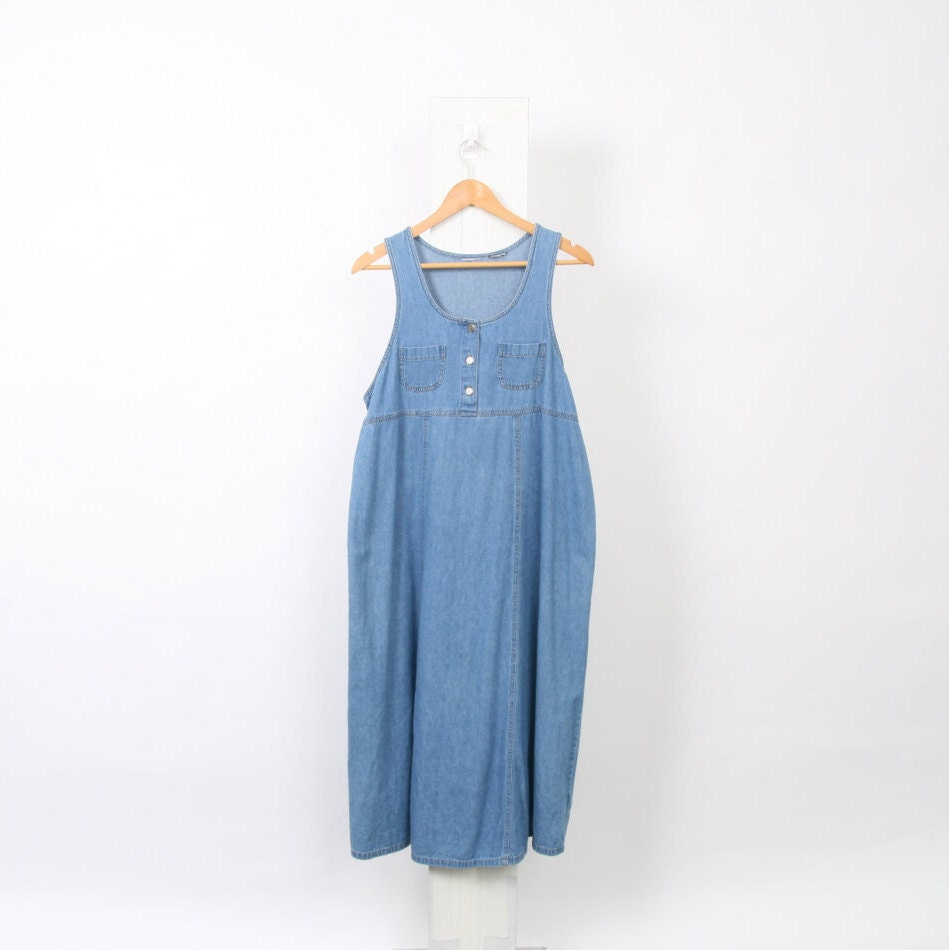 feb4eae65d 90s Blue Chambray PINAFORE Womens size Au 14 US 10 L Large Cotton Button  Vintage Denim Pocket Pinny Midi Maxi Long Grunge Jumper Dress. 1
