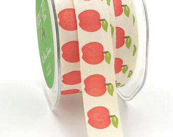 APPLES Cotton Trim - 5 yards - 3/4 inch ivory ribbon - country wedding - favor ties - snow white - sewing - scrapbooking