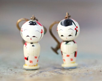 Tiny Kokeshi Earrings - Antique Clip on - Souvenir from Japan