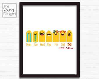 My Weekly Mood Calendar, Funny Cartoon illustration, printable posters gift ideas, INSTANT DOWNLOAD, print at home