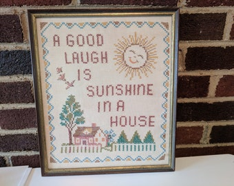Vintage Framed Cross Stich Wall Hanging - A Good Laugh is Sunshine in a House