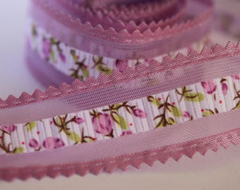 very pretty Purple Ribbon flower with tulle