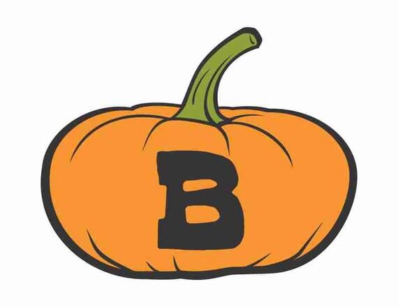 Printable Digital Download DIY - Fall Art Monogram Pumpkin - short B - Print frame or cut out for seasonal Halloween decorating orange black