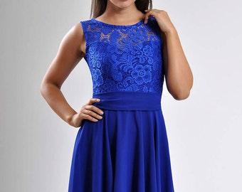 Cobalt blue dress Bridesmaid dresses Royal Blue Wedding Dress  Chiffon Dress with Bow Lace Dress Circle Skirt Engagement Dress Blue wedding