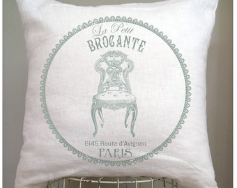 French Pillow Cover. French Country Pillow Cover. Shabby Chic Pillow. Modern Farmhouse Pillow. Cottage Pillow. Brocante. French Flea Market.