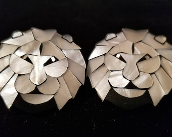 Lion Earrings Mother of Pearl Mosaic Lee Sands Unmarked