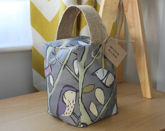 Grey bird fabric door stop multi-coloured