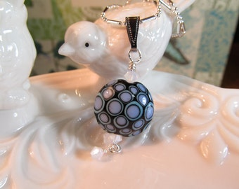 Necklace SALE purple black glass lampwork bead with crystals