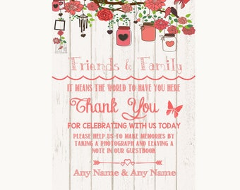 Coral Rustic Wood Photo Guestbook Friends & Family Personalised Wedding Sign