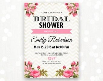 Printable Bridal Shower Invitation, Bridal Brunch, Bridal Tea Party Invite Girly Gold Chevron Shower the Bride Editable INSTANT DOWNLOAD DIY