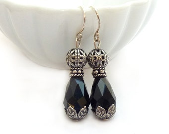 Black & Antiqued Silver Earrings - Romantic Victorian Style Faceted Glass Earrings - Silver Filigree - Downton Abbey Style - Free Shipping