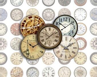 Clock Faces Printable 1-Inch Circles / Bottlecap Images / Vintage Antique Clocks / Digital Collage / Instant Download