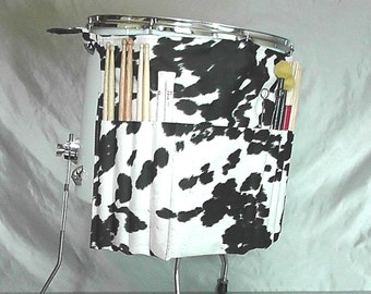 Roll It Ups Drumstick Bag in Faux Cow Hide Black White Farm Gift for Drummers Country Music Percussion