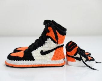 Mother baby matching shoes,baby jordan, Crochet Air Jordan 1 Retro Orange Sneaker,shoes,air jordan 1 flyknit, jumpman shoes, crochet sneaker