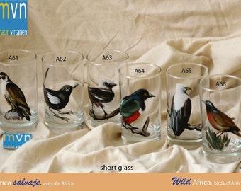 Wild Africa, birds of Africa, fine art hand painted glassware, set of artistic glasses, epsteam