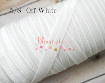 "5/8"" Fold Over Elastic - OFF White Color - OFF White Fold Over Elastic -White Elastic Fold Over - Birthday/Baptism-Hair Accessories Supplies"