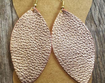 Rose Gold Feather Leather Earrings