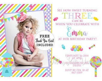 Candy Shoppe Invitation, Candy Shoppe Invite, Candy Shop Invitations, Candy Shop Invites, Candy Party, Birthday Party, Candyland Invitation
