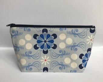 Cotton + Steel S.S. Bluebird - makeup pouch, zipper pouch, makeup bag