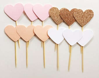 12 Heart Cupcake toppers in Pastel Pink, Peach, White and Rose Gold Glitter