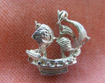 Vintage Sterling Silver Charm Pirates Ship