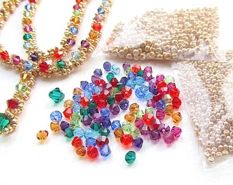 Jewellery Making Kit, Necklace Kit, Evangeline Jewel, Crystal and Seed Beads, Rainbow Brights and Goldtone