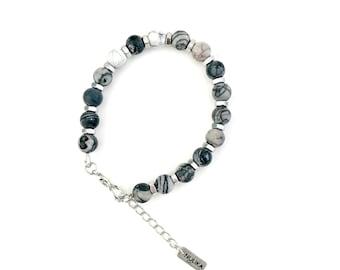 Black white stone bracelet, natural stone beads, beaded bracelet, boho stone bracelet, nulika
