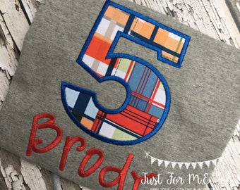 Personalized Boy Birthday Appliqué Birthday Number and Name shirt or bodysuit Makes a great gift FREE MONOGRAM