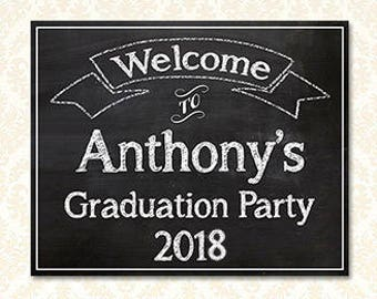 Graduation Party Welcome Sign Personalized, Custom Printable Grad Party Signs Posters, Class of 2018 Grad Party, High School or College