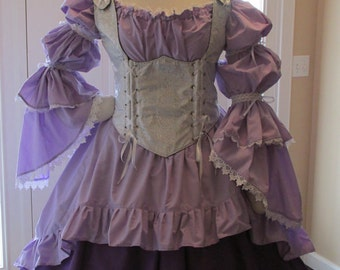 DDNJ Choose Fabric Style 3pc Burlesque Victorian Steampunk Plus Custom Made ANY Size Renaissance Pirate Vampire Cosplay Medieval Costume SCA