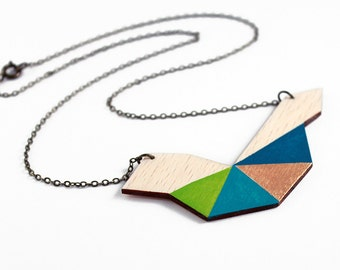 Geometric tribal wooden necklace - natural wood, blue, turquoise, green, gold - minimalist, modern jewelry