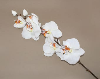 White True Touch Phalaenopsis Orchid Branch - silk flowers- artificial flowers