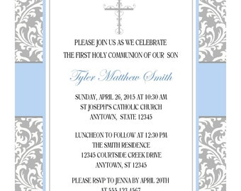 FIRST COMMUNION INVITATION for Boy / Personalized Gray and Blue Damask Invitation for First Communion / Baptism or Confirmation Invitation