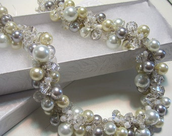 SILVERY MOON Bridal Wedding Necklace, Ivory, White, Silver Grey Luster Pearls, Sparkling Crystal, Hand Knit Cluster  Twist  Necklace