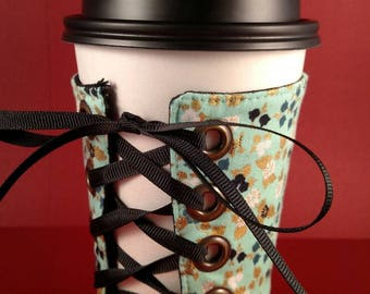 Coffee Corset - Turquoise Blossoms