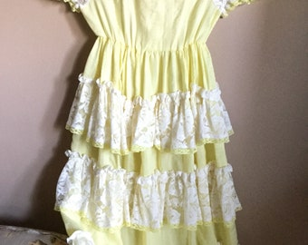 Vintage Child's Ruffled Yellow Dress w/Handmade Lace Panels Measurements in Listing