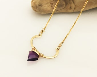 Small Gold Filled Curve Neckalce - Amethyst - N445GF-S-AM Gold Filled, Hammered, Bar Necklace, Gemstone, Minimalist