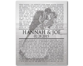 Personalized Song Lyrics with Photo Wall Art CANVAS - Any Song Lyrics - Wedding Song - Wedding Vows Wall Decor - Wedding, Anniversary Gift