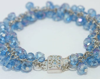 California Blue Crystal & Sterling Bracelet