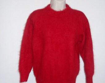 Vintage Red Angora Sweater ~  Vanessa Stevens Angora Sweater ~ Soft & Fuzzy Red Sweater ~Vintage Sweater ~ Vintage Red Sweater