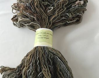 "220yds Worsted Hand Dyed Wool-Silk-Mohair Yarn 100g - ""Birches"""