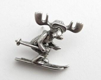 Markie Moose Ski Race tac pin pewter